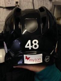 My Ice Hockey Helmet with Myton Badge on