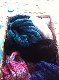 Basket of completed hats