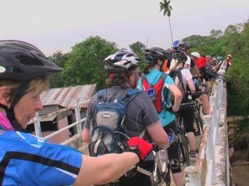 Crossing the bridge in Vietnam