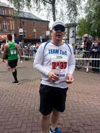 Mike Leedham at the finish line
