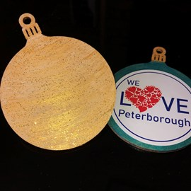 Glittered gold bauble ready for a name will it be yours?