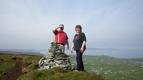 Me and Marilyn Hill Above Cunningsburgh