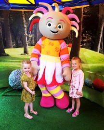 Lilli (left) and my daughter Chloe (right) at Cbeebies Land earlier this year