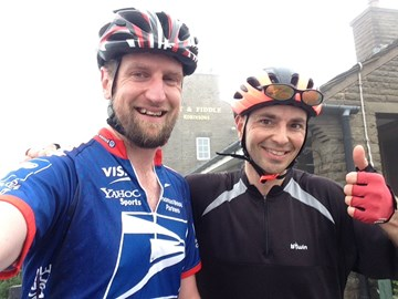 Reaching the summit of the Cat and Fiddle, a category 2 climb. Starting training on serious climbs!