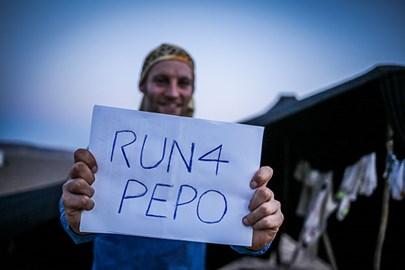 Running for Pepo in the Sahara desert
