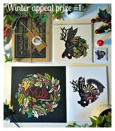 Original papercut, stationary, Yule card set and magnet from 'Of half imagined things'