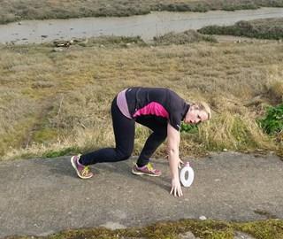 Mel preparing for the mud run