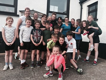 The team - even the children are taking part in the fun run