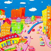 The painting in our reception showing our colourful locality!