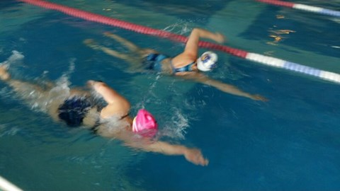 11km into a 12km pool swim (I'm in the pink hat)