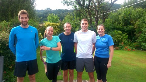 Before a training run with Andy, Jennifer, Peter and Helen