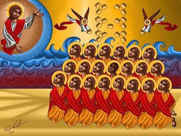 Icon of the 21 martyrs, by artist Tony Rezk. copied from the Coptic Orthodox Diocese of Los Angeles web page http://lacopts.org