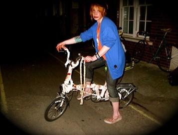 Xanthe with Zombie Bike on Halloween