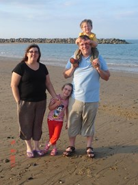 Elaine with her husband James and children Sophie and Jack