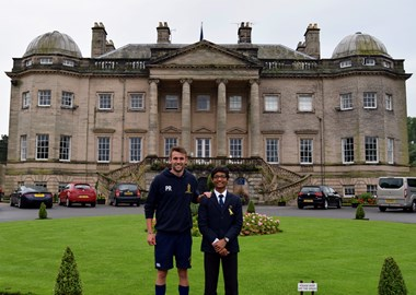 Jaivik and I outside Foremarke Hall