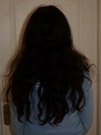 Sherry's hair before the chop