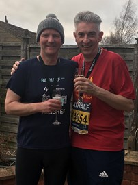 Celebrating finishing the Bath Half with Ian Brooks