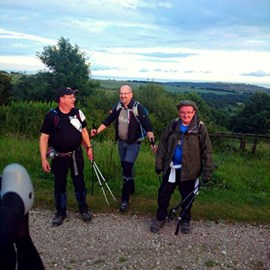 Jeff (taking photo), Sweyn, David & Bob about to embark on a night-walk to experience sections 4 to the end at Brighton Racecourse