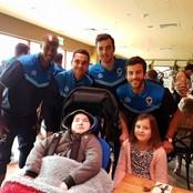 Owen and Olivia meeting Wimbledon AFC on their trip