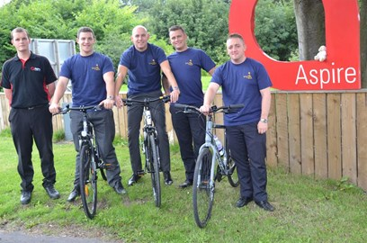 On their bikes ... the Aspire team