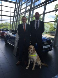 At Nottigham Audi, being supervised by Guide Dog Hudson ;-)
