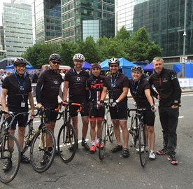 Garrington in training at the Canary Wharf Corporate Grand Prix
