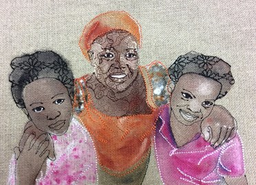 Dainess Sakala and her daughters, embroidery with fabric paint