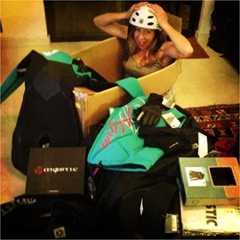 Mystic Kite boarding on board! Sending over all the goodies to keep me save and warm