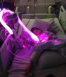 Josh using fibre optics in hospital