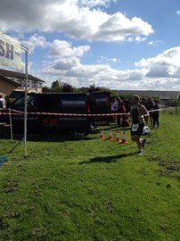 Almost over the line at the Ely 'Sprint' Triathlon
