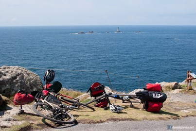 Bikes at the end of John O Groats to Lands End