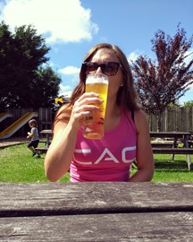 Proudly wearing my Climbers Against Cancer vest while enjoying a pint in the sun the day after surgery!