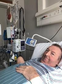 Roger undergoing his stem cell transplant at Sheffield Hospital