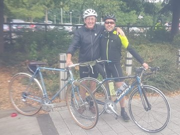 John and his son Paul before they set off for the ride