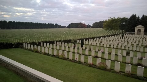 The British Cemetery at La Targette, the crosses on the other side of the hedge are French casualties and there are a lot of them.