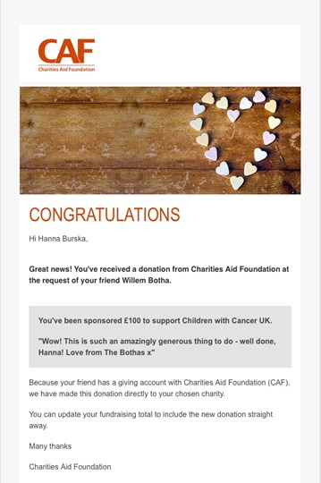 Hanna Burska is fundraising for Children with Cancer UK