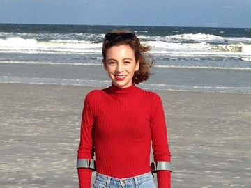 Me on Jacksonville beach, catching a different type of ray before my proton therapy begins
