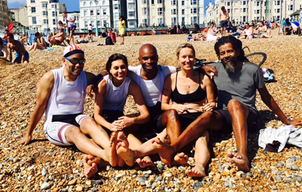 Halfway through the ride - chilling out on Brighton Beach