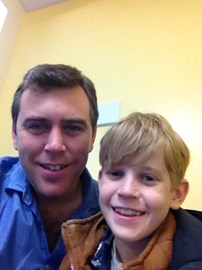 Me & Jacob, taking a double selfie whilst waiting for an X-Ray