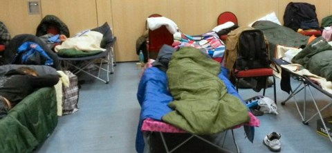 Sleeping at the winter shelter