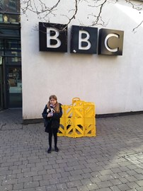 Evie outside the BBC after the Wes Butters show