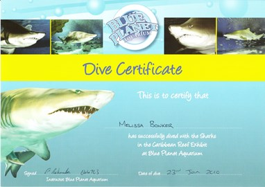 Melissas certificate to prove SHE DID IT