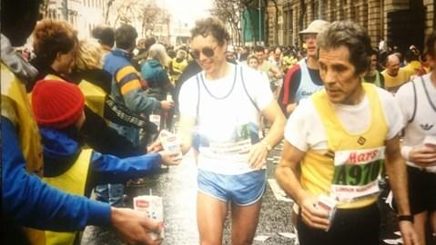 Dad on Northumberland Avenue London Marathon 1985