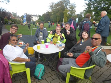 Celebratory hot drinks after the walk - with MEDALS