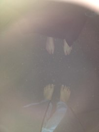 Horrendous quality but important ceromial photo of Abigail and Jessica after midnight