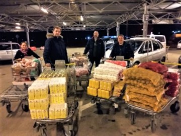 Food for the Apalina Food Bank purchased and ready for distribution