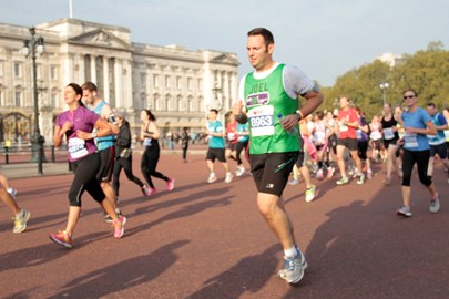 Here I am, running past Buckingham Palace