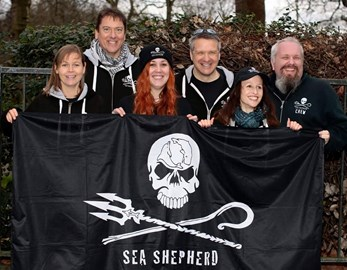 The crew get together at the japanese Embassy to protest the slaughter of dolphins in Taiji.