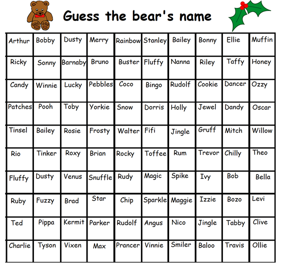 guess the name of the bear template