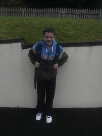 Jack on his first day in St Patrick's Comprehensive School, Shannon, Co Clare